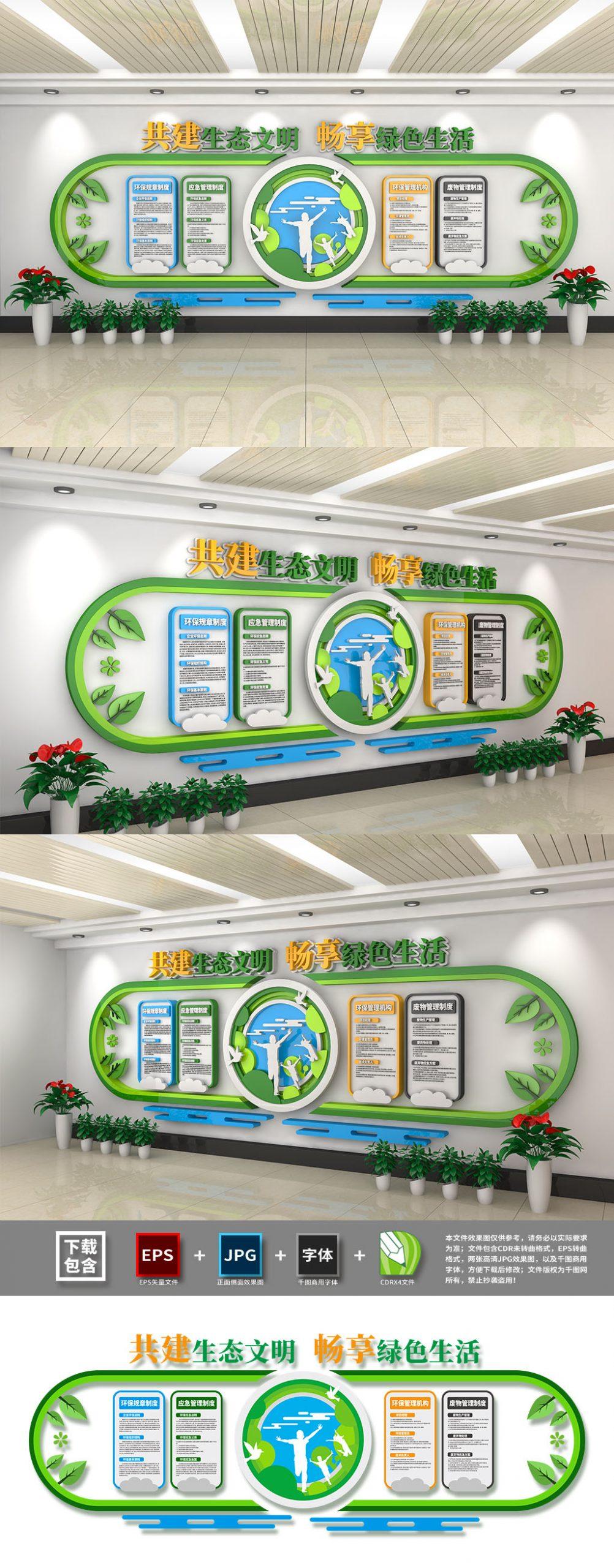 创意绿色环保环境保护文化墙插图