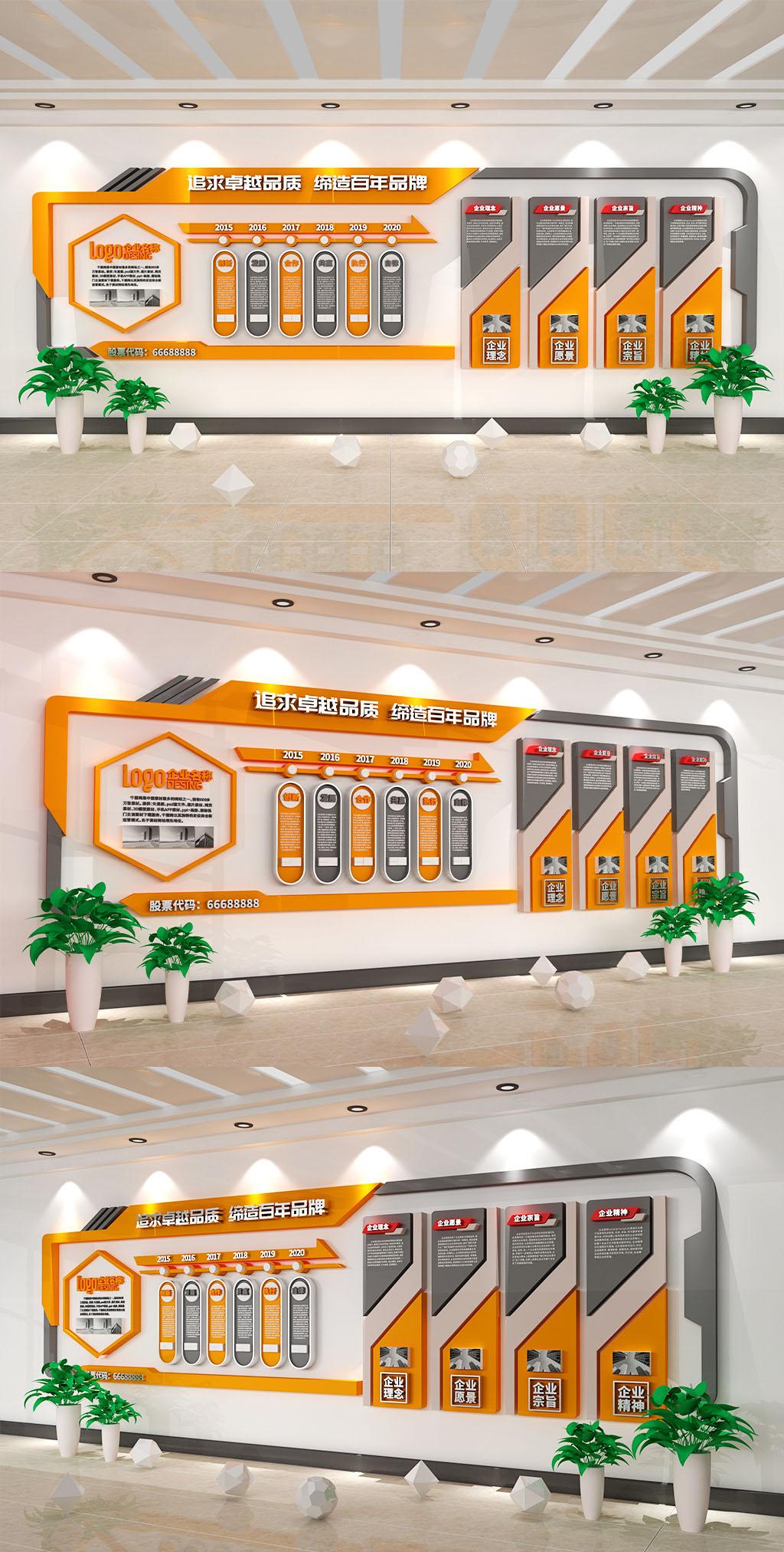 大气橙色商务企业历程企业大事记文化墙插图