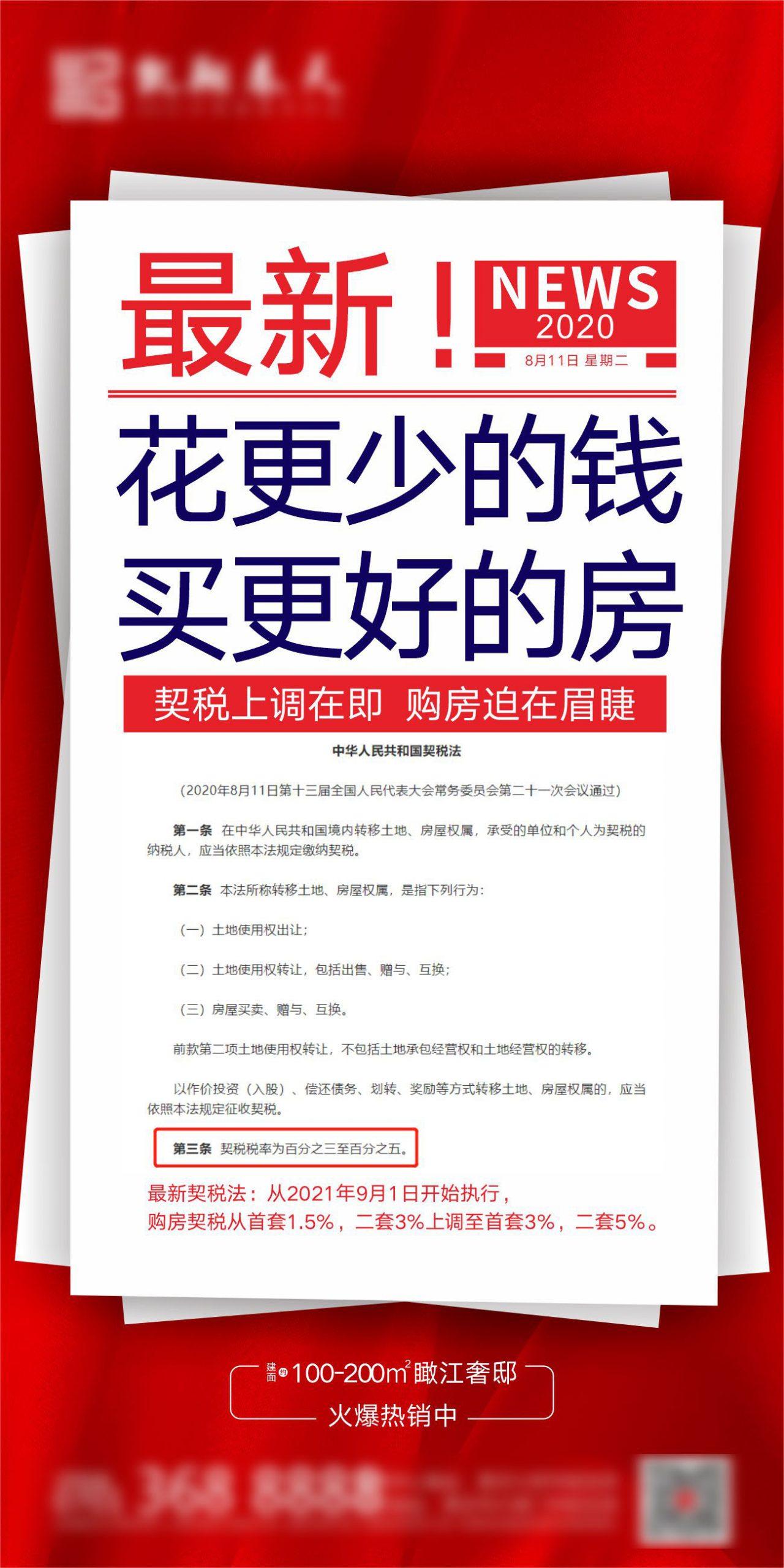 房地产契税上调微信转发海报CDR源文件插图